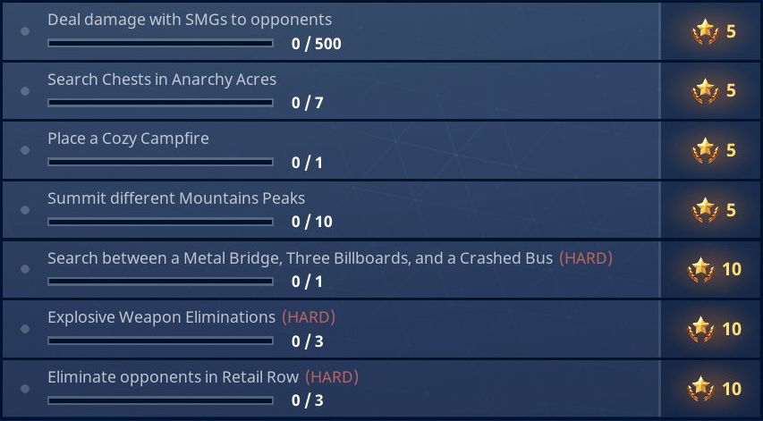 Fortnite Marshmellow Chalange Locations Anarchy Acres Chests Mountains Peaks Locations Metal Bridge Three Billboards And A Crashed Bus Location Fortnite Season 3 Battle Pass Challenges Week 6 Guide Pro Game Guides