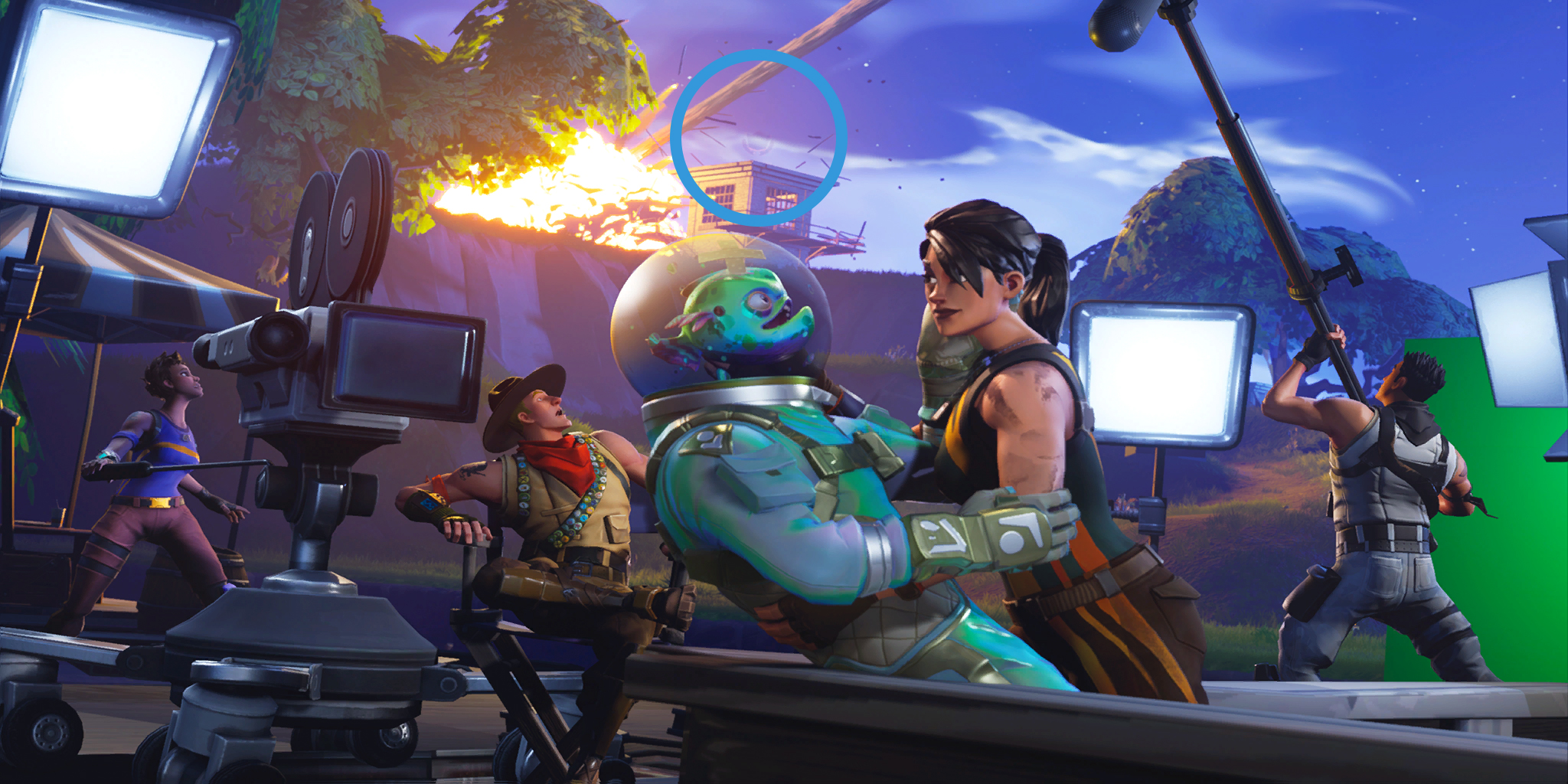 this location can be found to the north west of moisty mire in the prison area this is a notable area because it was one of the spots hit by a piece - fortnite season 8 loading screen 2