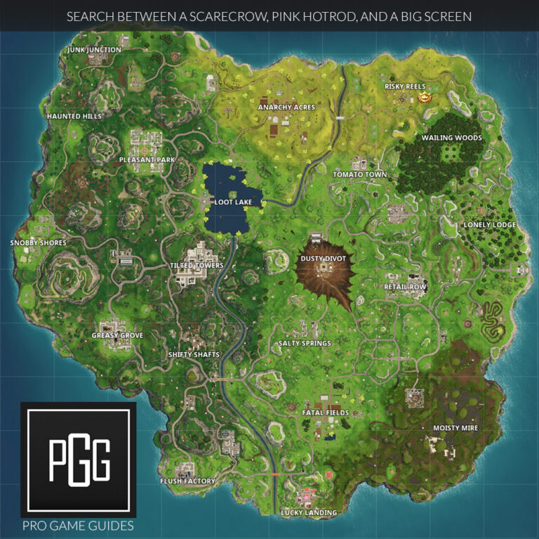 Search Between a Scarecrow, Pink Hotrod, and a Big Screen Location Map