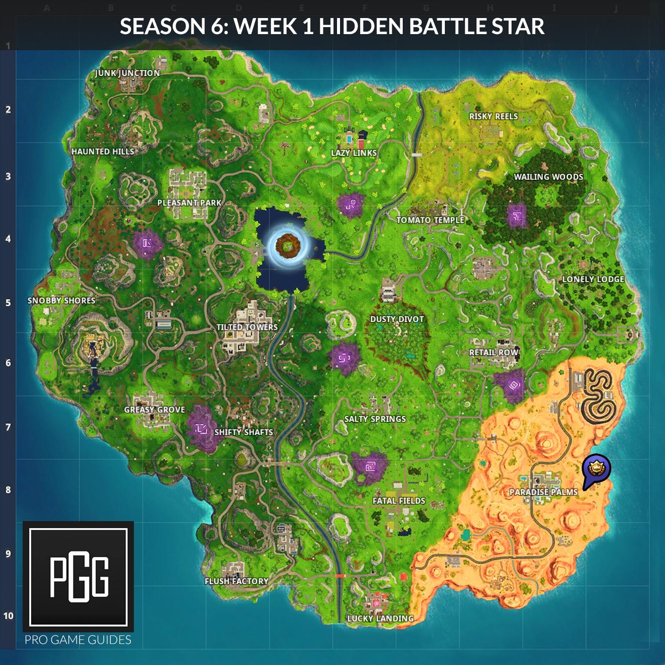 season 6 week 2 hidden banner location - secret battle star locations in fortnite