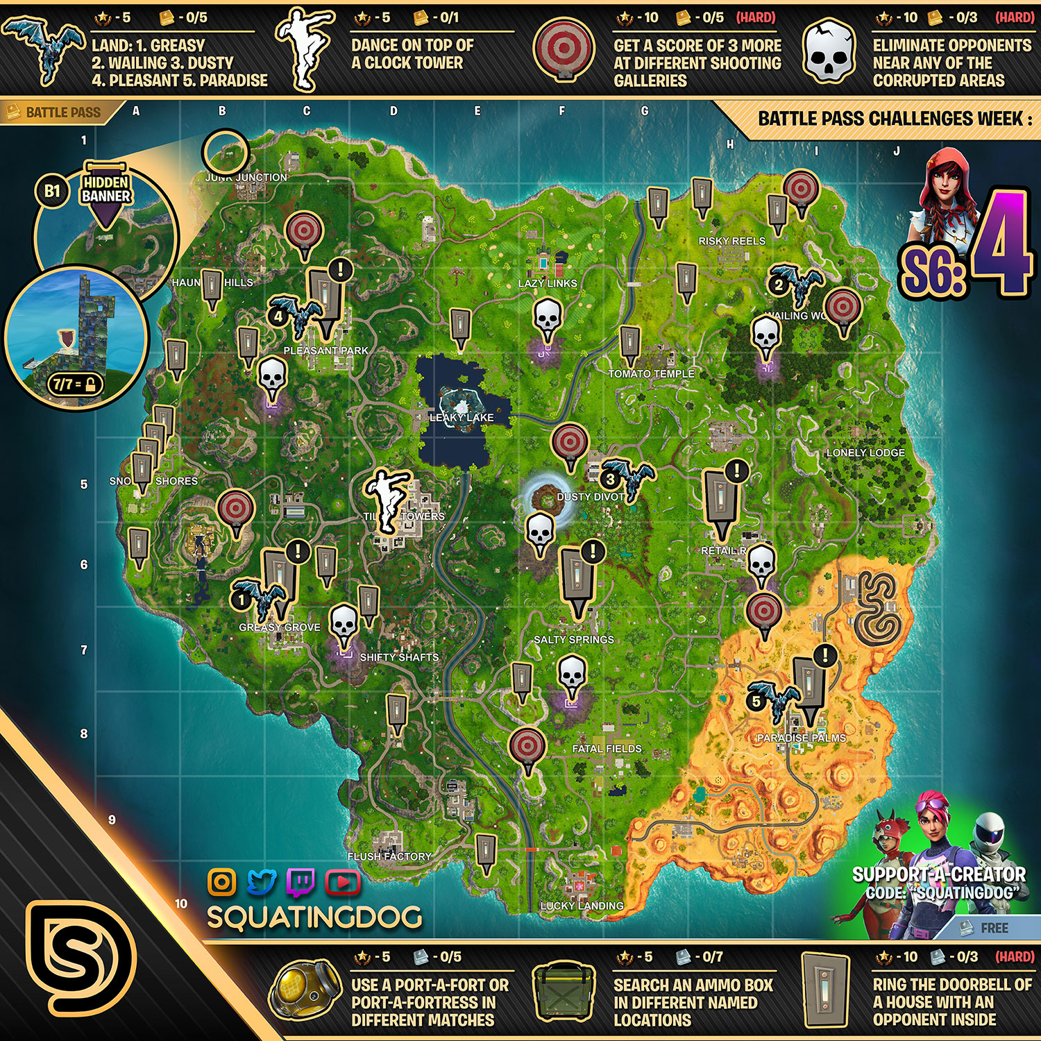 shooting gallery fortnite locations