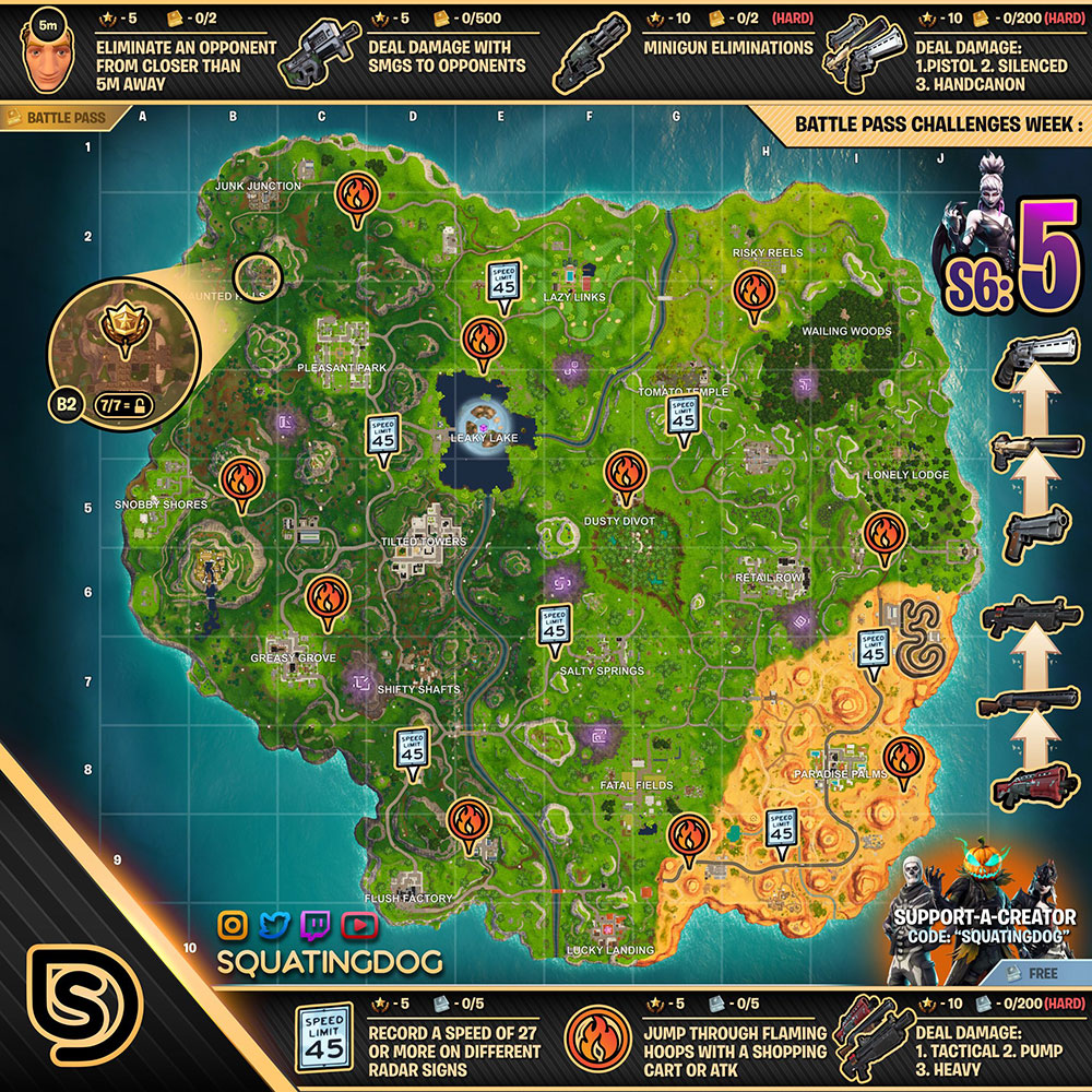 Fortnite Season 6 Week 5 Challenges List Cheat Sheet Locations
