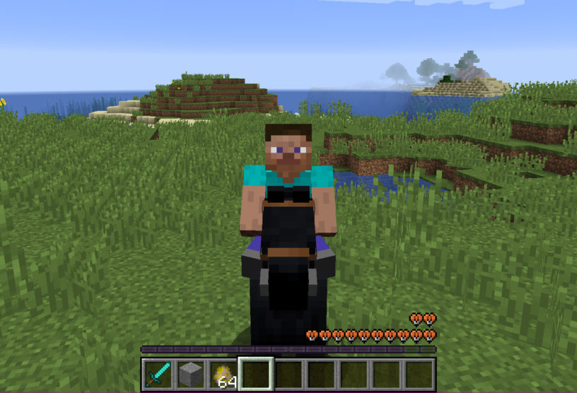 Riding a black horse in Minecraft