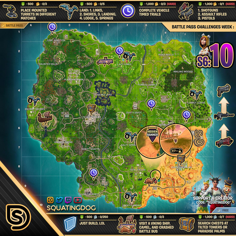 Fortnite Season 6 Week 10 Challenges List Cheat Sheet Locations