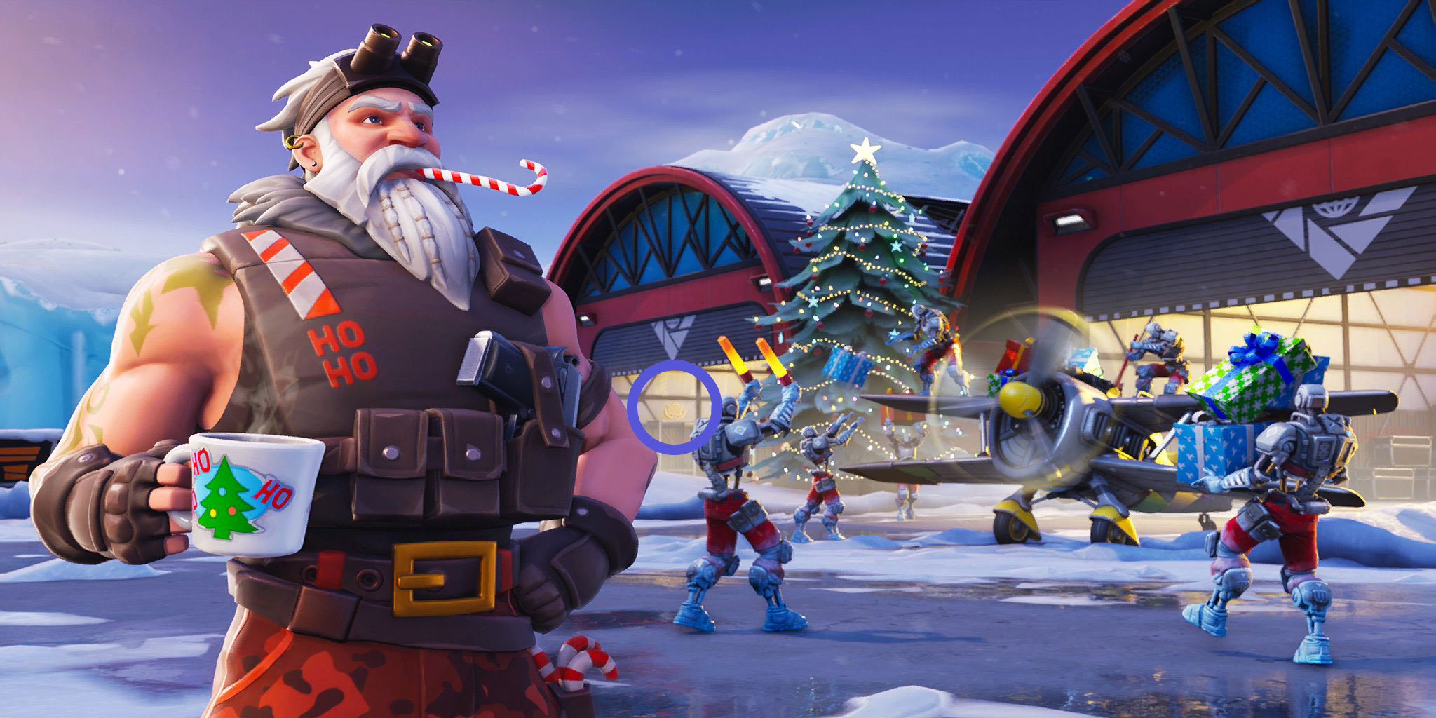 loading screen showing the a i m skins loading up an airplane with presents if you look hard into the hangar on the left you will see the transparent - fortnite week 9 loading screen season 8