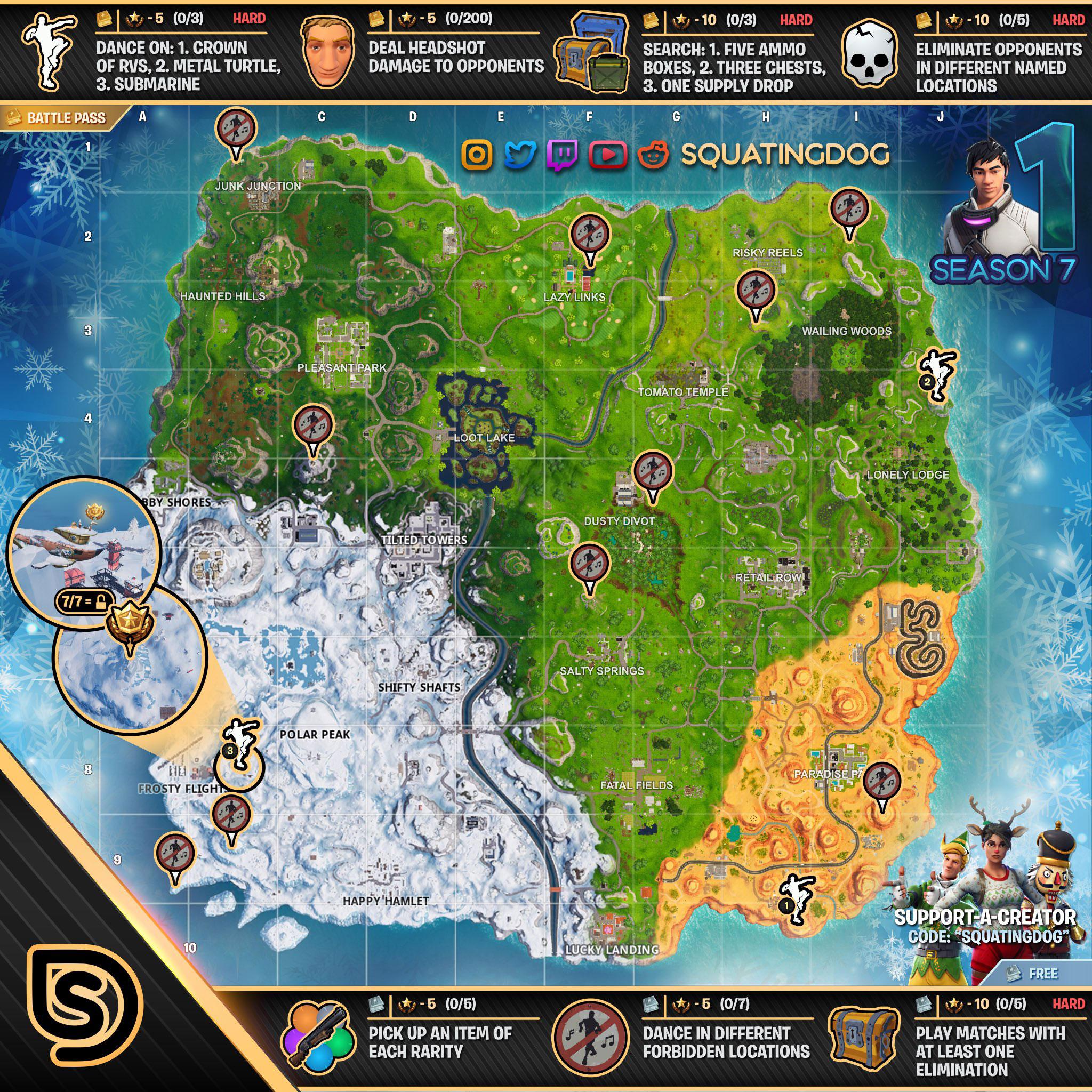 Fortnite Season 7 Week 1 Challenges List Cheat Sheet Locations
