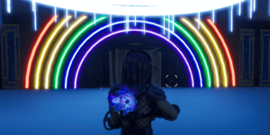 A rainbow to an edit course in Fortnite.
