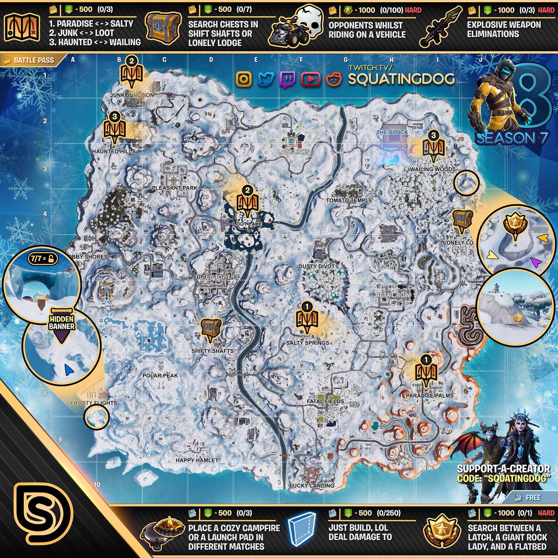 fortnite season 7 week 8 cheat sheet - fortnite map saison 1 a 8