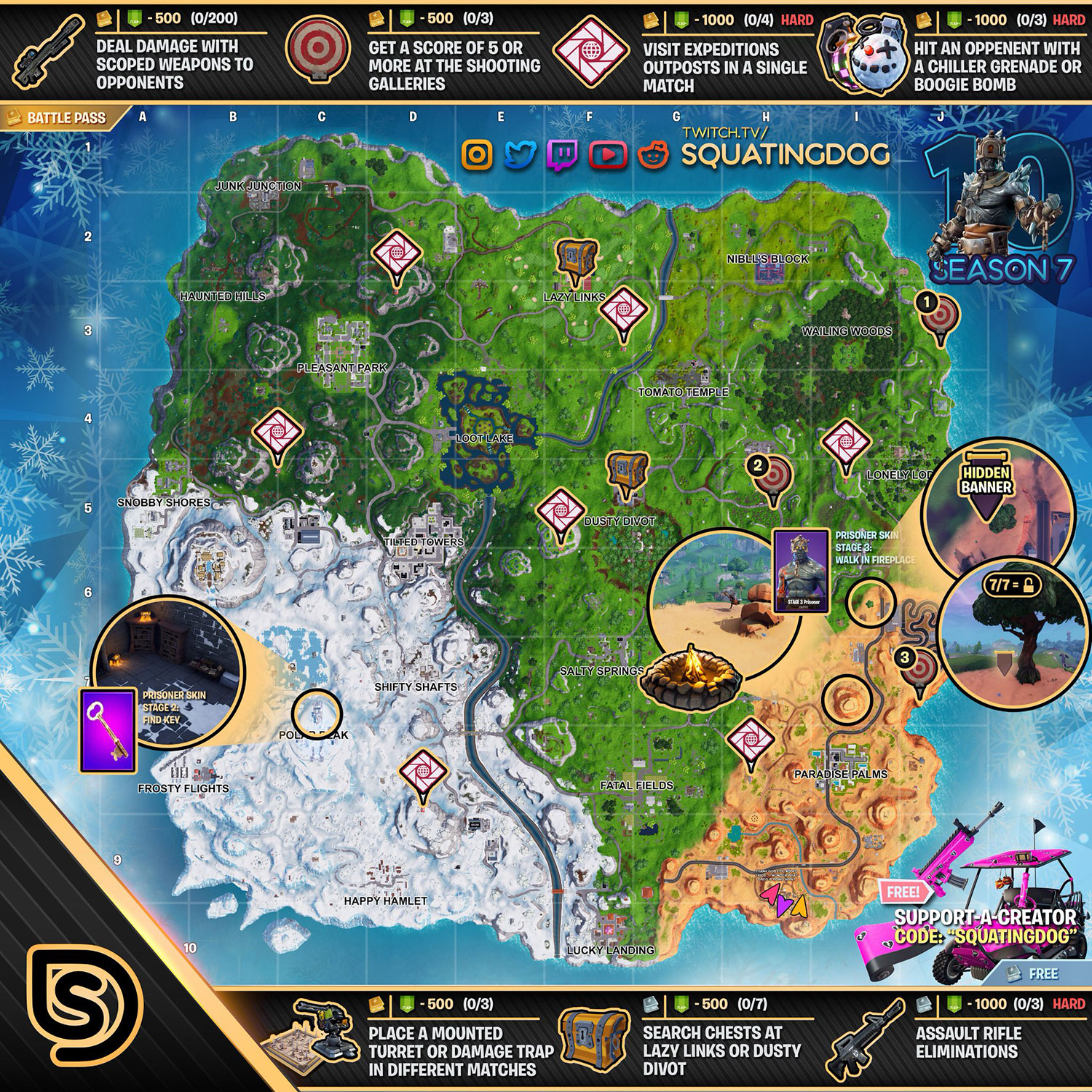 Fortnite Season 7 Week 10 Challenges List, Cheat Sheet