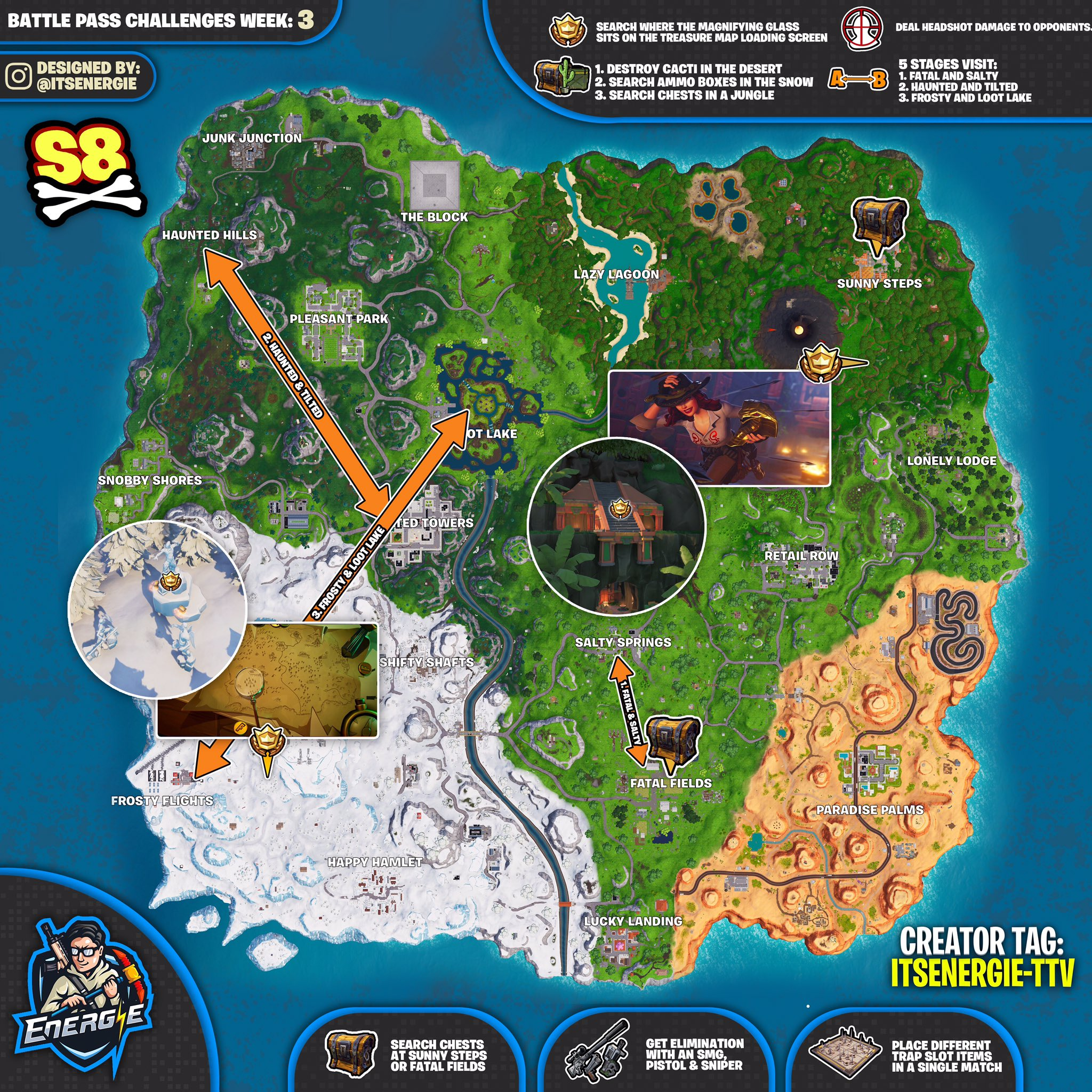 Fortnite Season 8 Week 3 Challenges List Cheat Sheet Locations