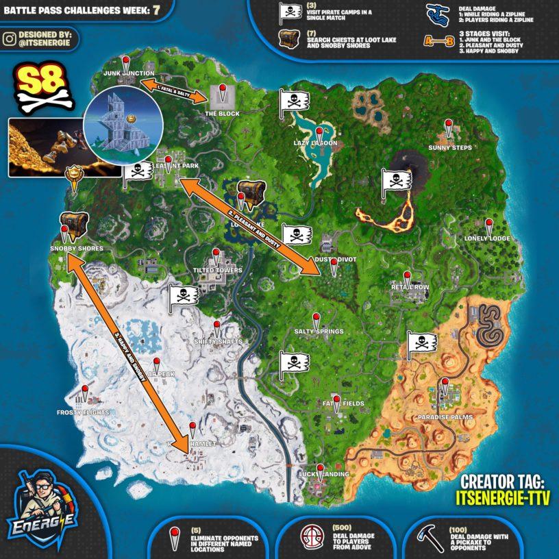 Zipline Challenge Fortnite Fortnite Season 8 Week 7 Challenges List Cheat Sheet Locations Solutions Pro Game Guides