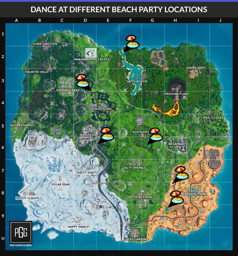 Fortnite Beach Party Locations (14 Days of Summer) - Pro ...