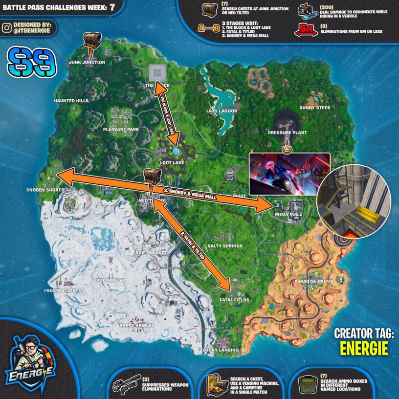 Fortnite Season 9 Week 7 Challenges Cheat Sheet Locations