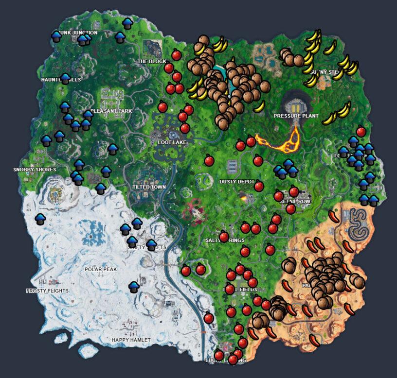 Guida Sfide Spaccatutto Settimana 5 Stagione 10 Fortnite frutta funghi oggetti glitch