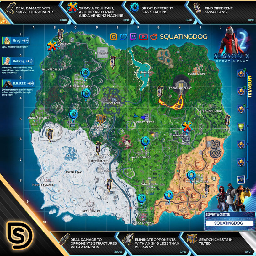 Fortnite Season 10 (X) Spray & Pray Challenges – Cheat Sheet