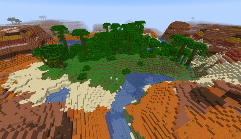 Small jungle biome surrounded by mesa in Minecraft