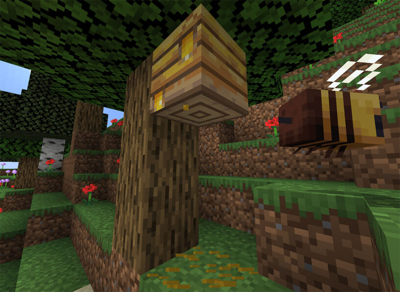 Minecraft: How-to Make a Bee Hive – Honeycomb, Honey Bottles