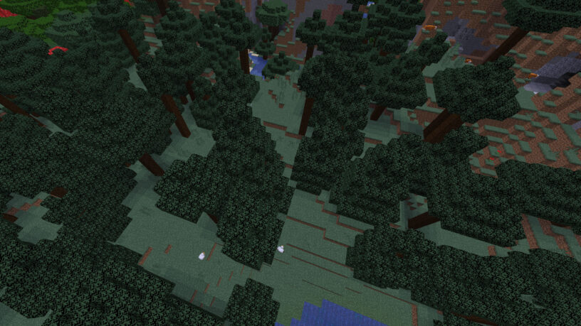 Taiga biome in Minecraft showing foxes