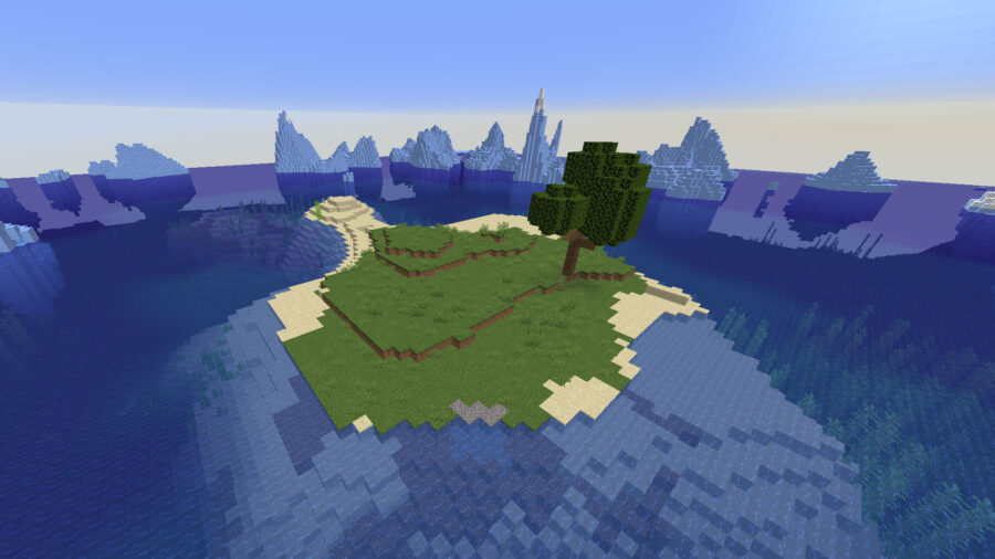 Minecraft island surrounded by icebergs