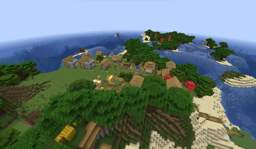 A village on an island.