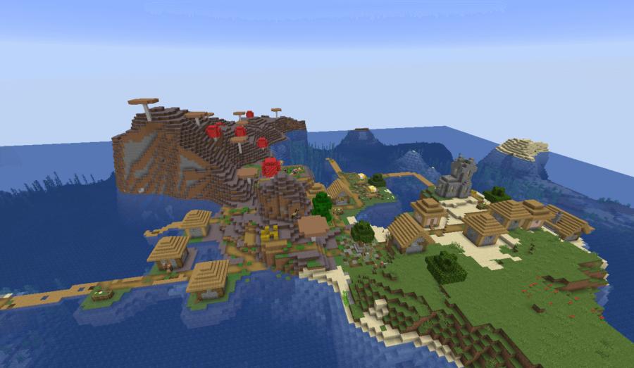 A village near a mushroom biome.