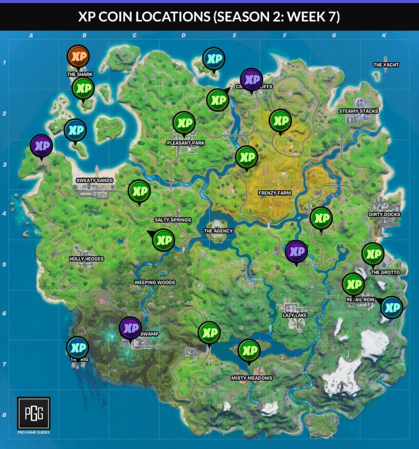 xp coin locations fortnite season 2