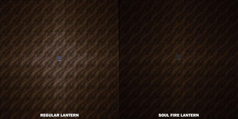 Light comparison between lantern and soul lantern