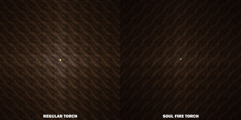 Light comparison between torch and soul torch