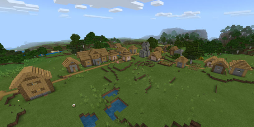 Large village in plains biome in Minecraft