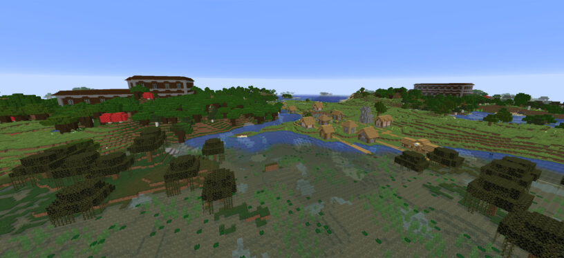 Image of woodland mansions and village at spawn seed