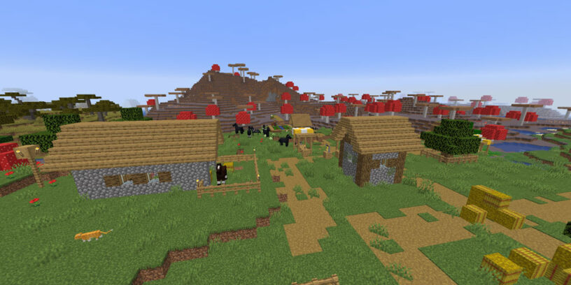 Village next to mushroom island seed