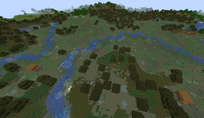 Four witch huts close together in a swamp biome seed
