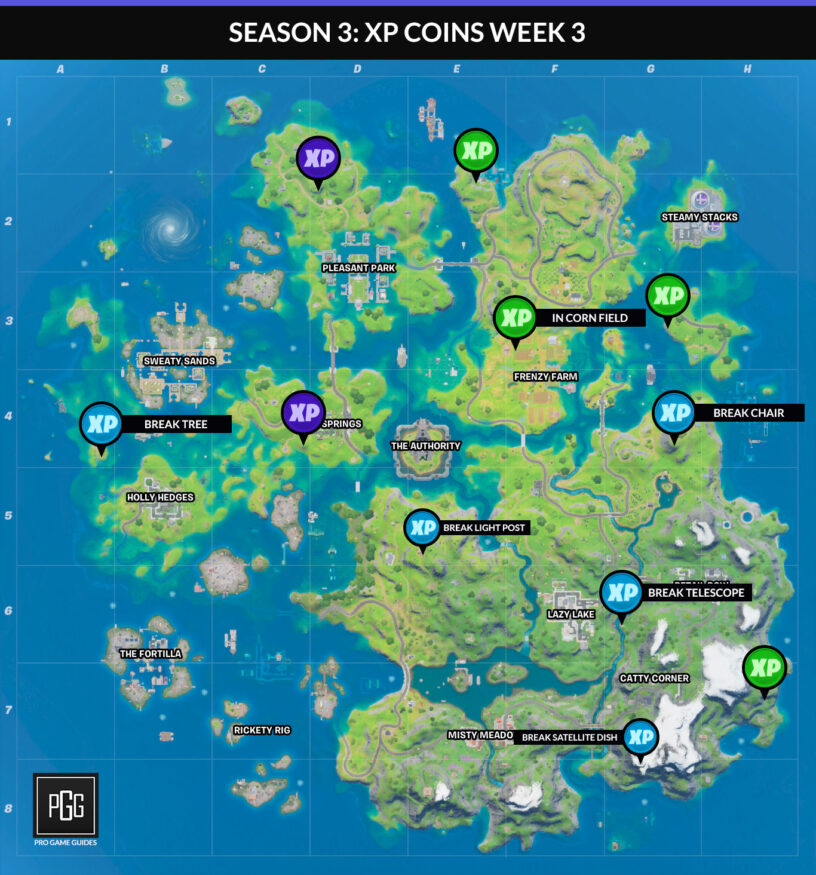 Fortnite Season 3 XP Coin Locations - Maps for All Weeks ...