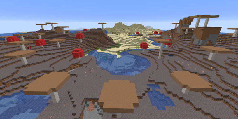 Mushroom island biome sharing space with desert in Minecraft