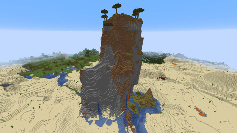 Huge savanna mountain in the middle of a desert in Minecraft