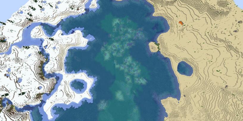 Warm ocean splitting cold and desert biomes