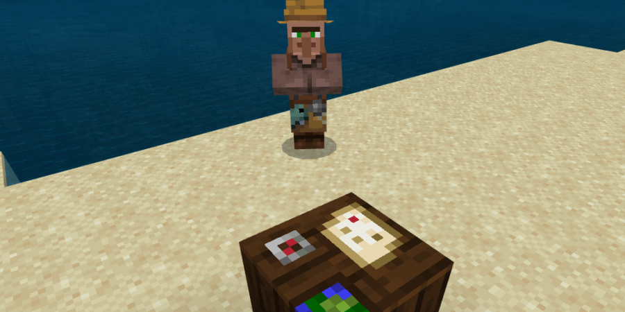 A villager in front of a Cartography Map.