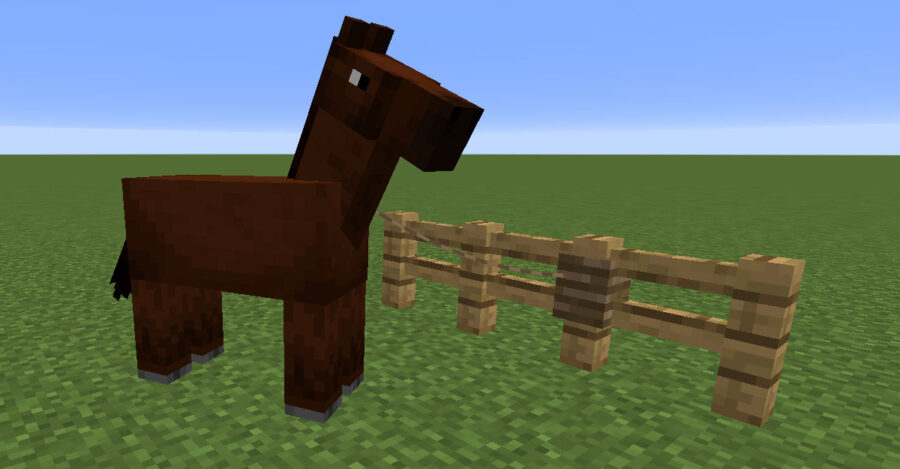 Horse tied to a fence with a lead in Minecraft
