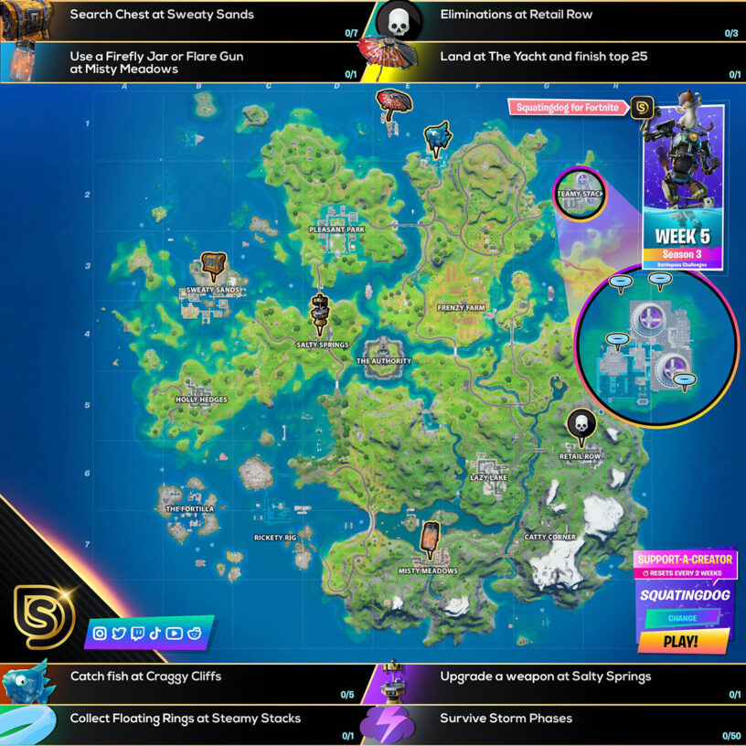 Fortnite Season 3 Week 5 Challenges Guide Cheat Sheet Pro Game Guides As many of us suspected there have been some major changes to the map after the galactus event, but it is not the full reset that many of us hoped for. fortnite season 3 week 5 challenges