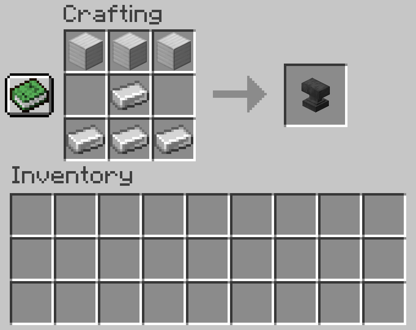 Crafting recipe for an anvil
