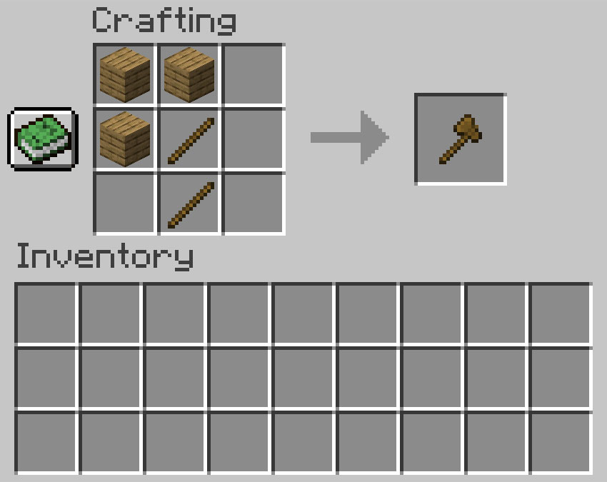 Crafting recipe for axe