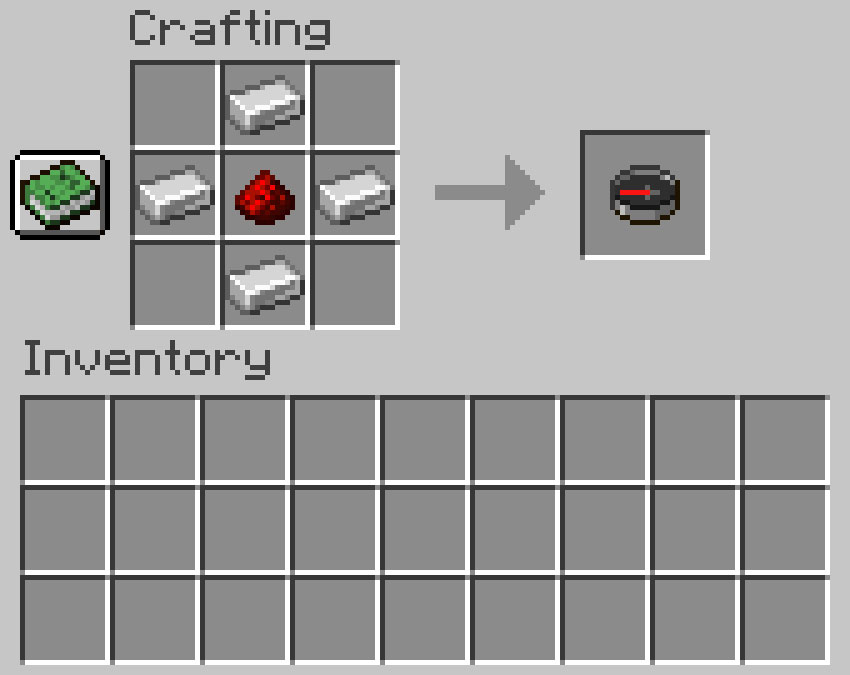 Crafting recipe for a compass