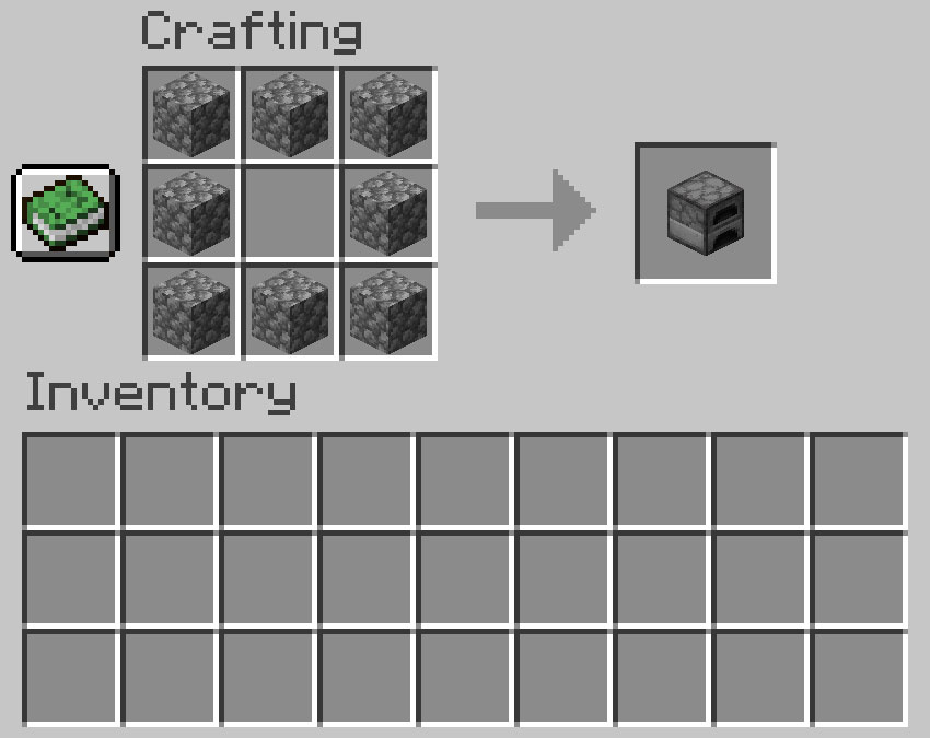 Crafting recipe for a furnace