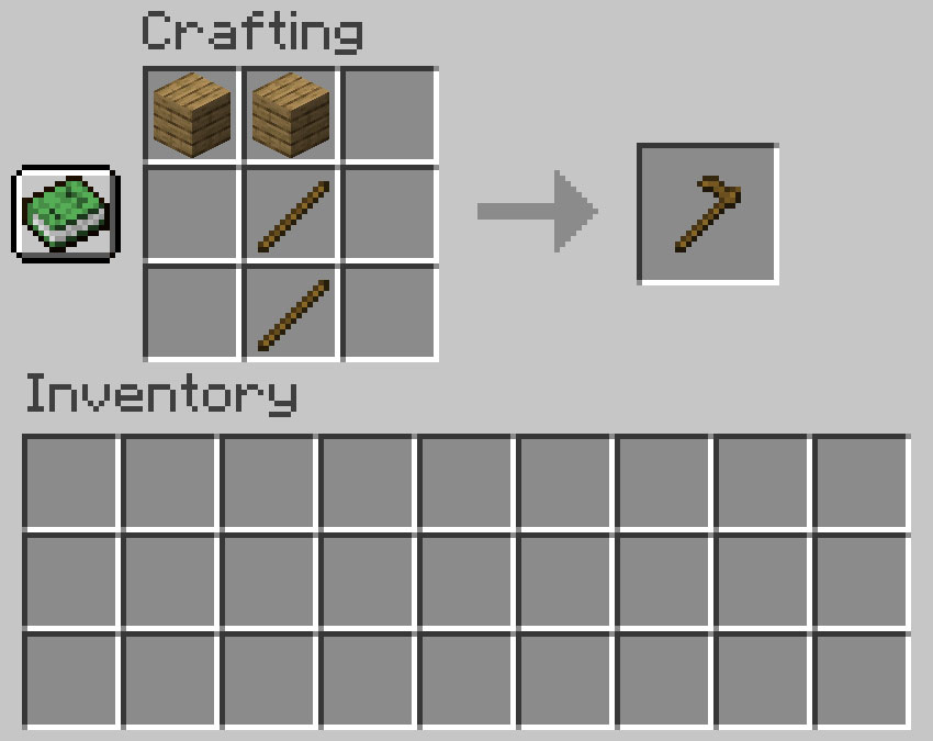 Crafting recipe for a hoe