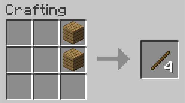 Crafting recipe for sticks
