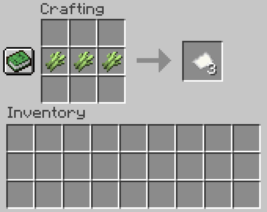 Crafting recipe for paper