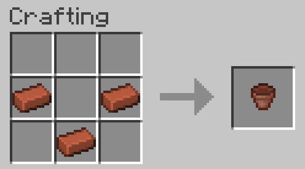Crafting recipe for a pot
