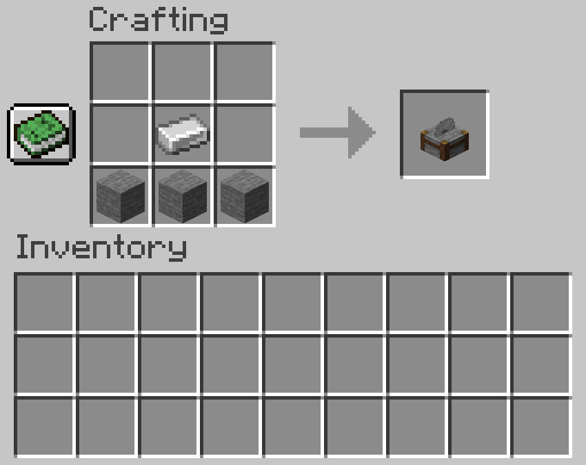 Crafting recipe for a stonecutter