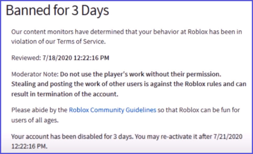 Roblox Ban 3 Days Clicking Legends Has Been Deleted From Roblox Pro Game Guides