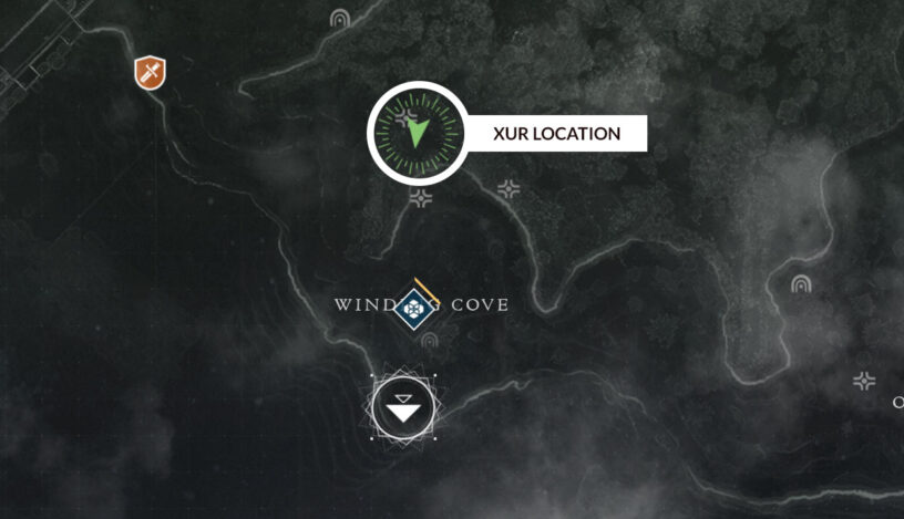 Destiny 2 Xur location map for Winding Cove in the EDZ